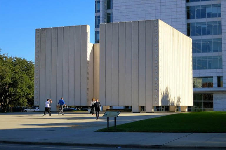 The JFK Memorial was designed by famed architect Philip Johnson
