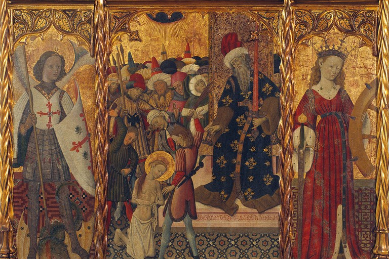 Bernat Martorell's Saint Michael, Martyrdom of Saint Eulalia and Saint Catherine