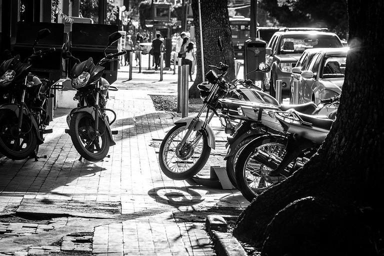 Motorbikes line the pavements of Avenida Chapultepec
