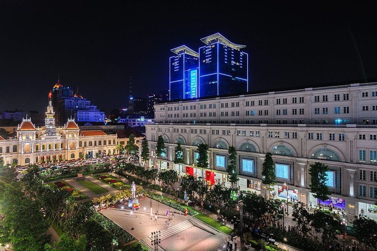 The view of Nguyen Hue Avenue from above