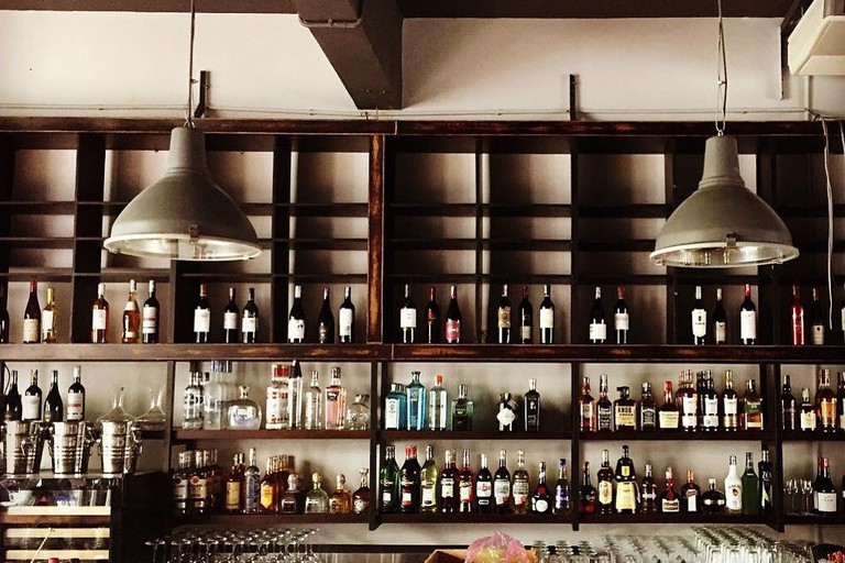The 13 metre-long bar counter at Layla