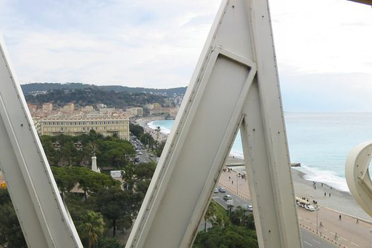 The iconic M of Le Meridien's signage in Nice