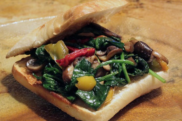 La Bicicleta's toasted sandwiches come with a variety of veggie fillings