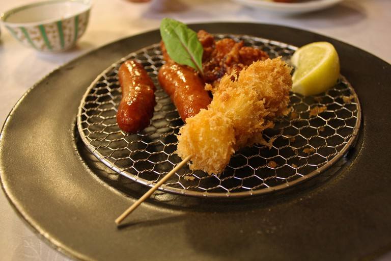 Sausage, chicken karaage and fried fish balls; appetizers at Maisen Tokyo