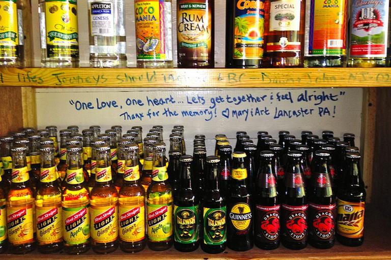 Rum shelf in Little Bay, Jamaica