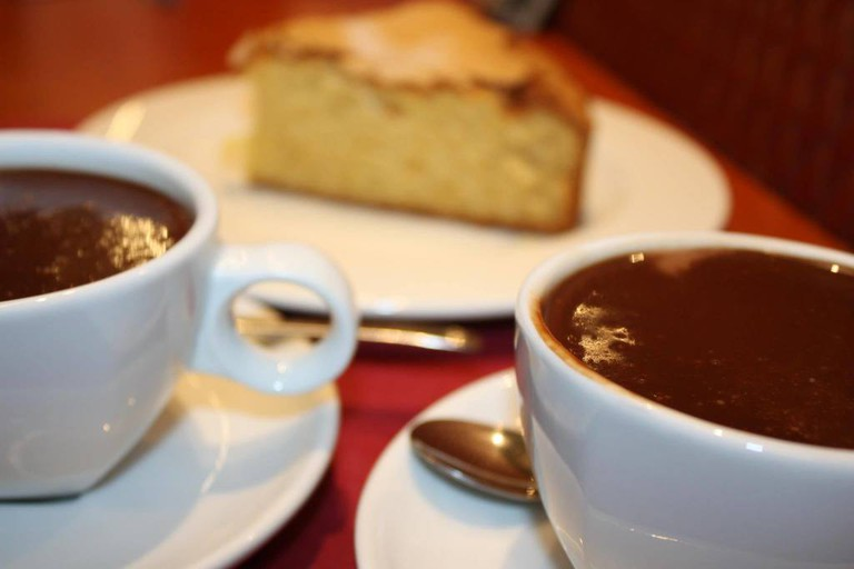 Hot chocolate and cake at Cafe Drexco, Murcia. Photo