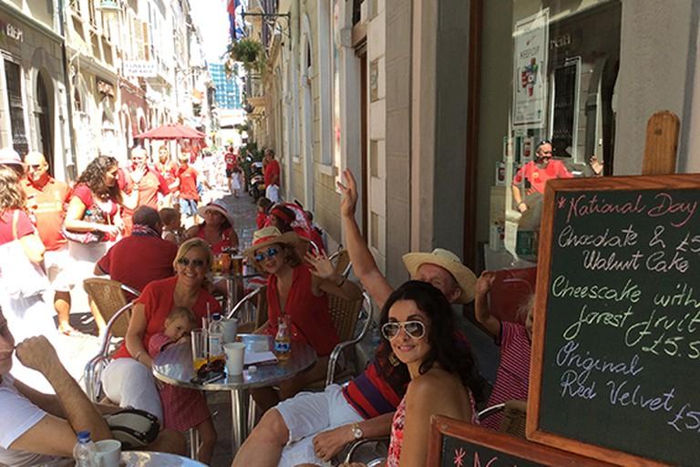 Sacarello customers celebrate Gibraltar's national day on the café's terrace