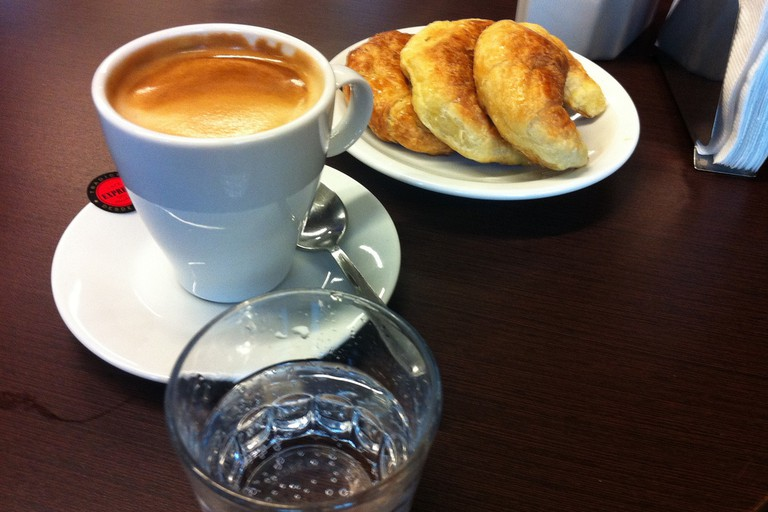 Afternoon espresso and a snack