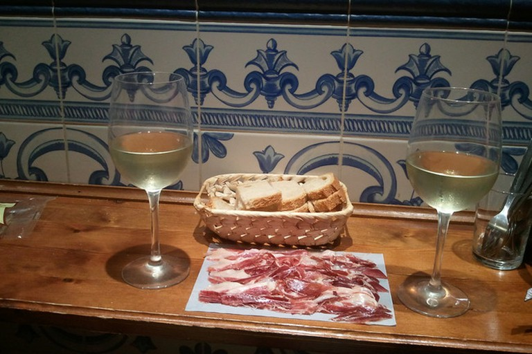 Jamon and wine at Taberna Casa Curro