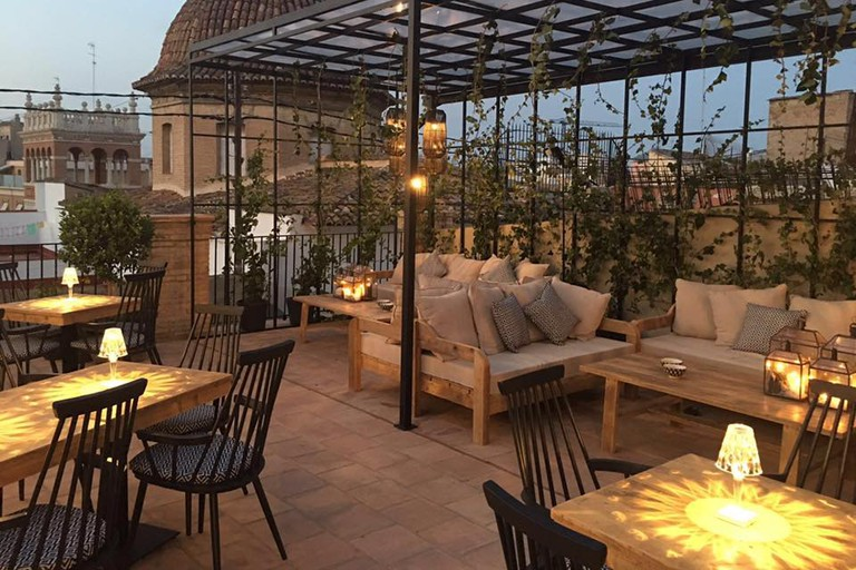 The roof terrace at Le Petit Bistro, Valencia.