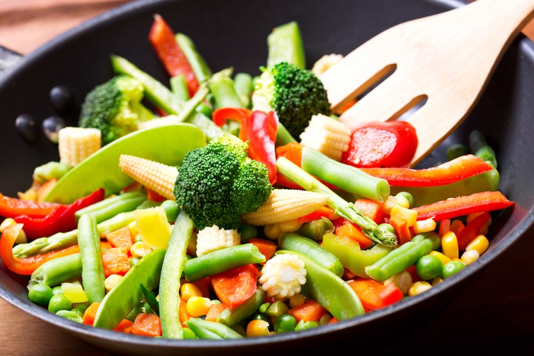 Sauteed vegetables and noodles