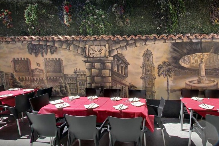 Outdoor tables in the streets of El Carmen.