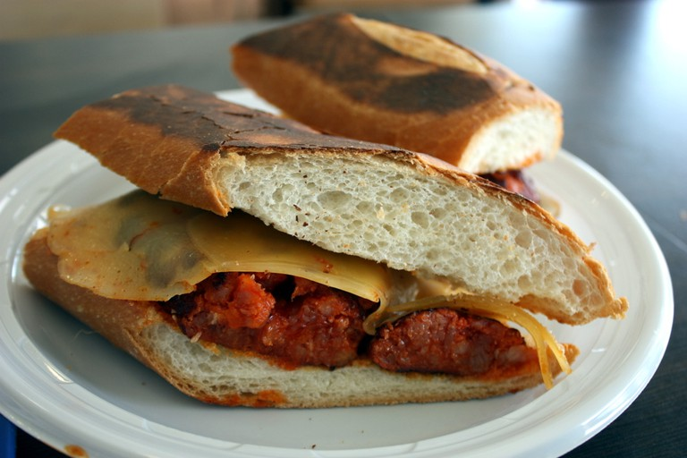 Chorizo and cheese sandwich from Kasalta Bakery