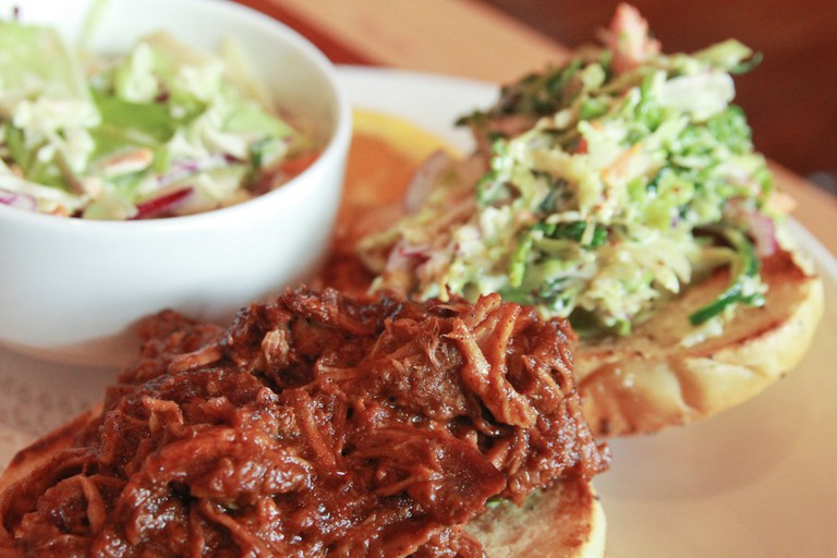Daily special of pulled pork sandwich with coleslaw