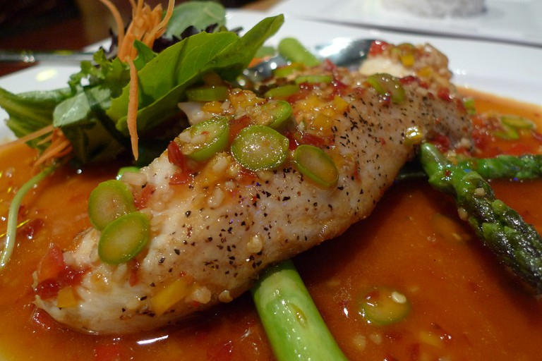 Fish in red chili sauce