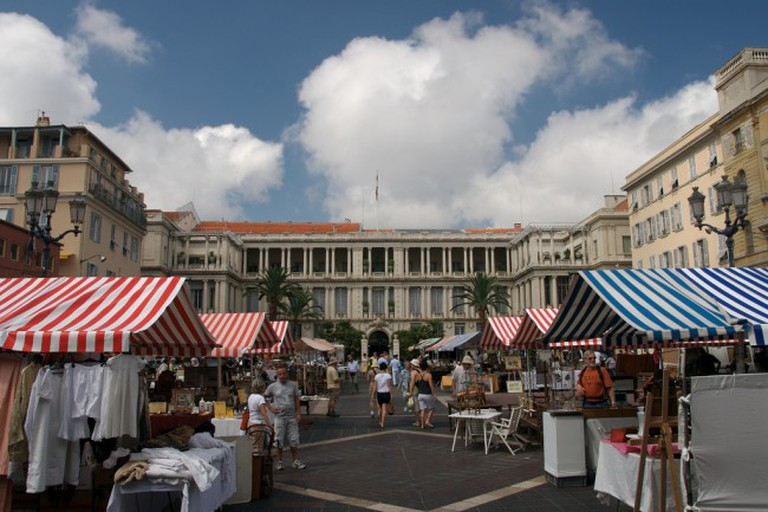 Enjoy browsing at the antiques market on the Cours Saleya, Nice