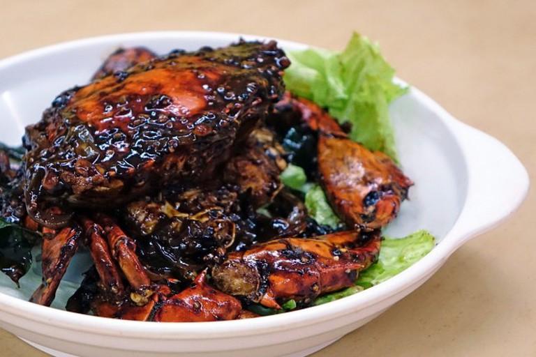 A black-pepper crab dish