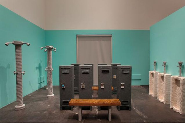 Nathan Vincent, Locker Room (installation view), 144 X 228 in, Leslie Lohman Museum of Gay and Lesbian Art, 2011 |