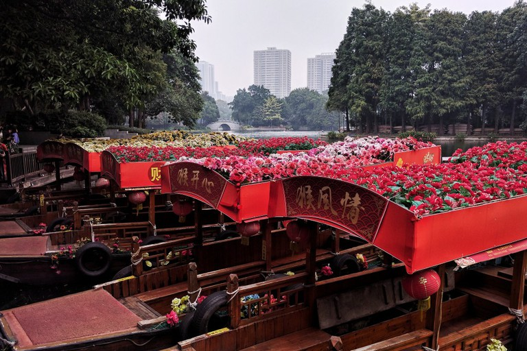 Flower Topped Boats at Li Wan Lake Park