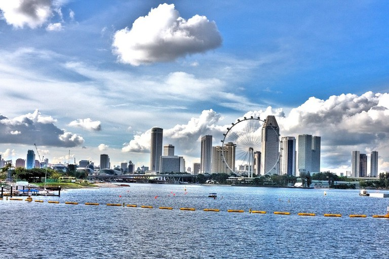 Singapore skyline seen from the Marina Barrage