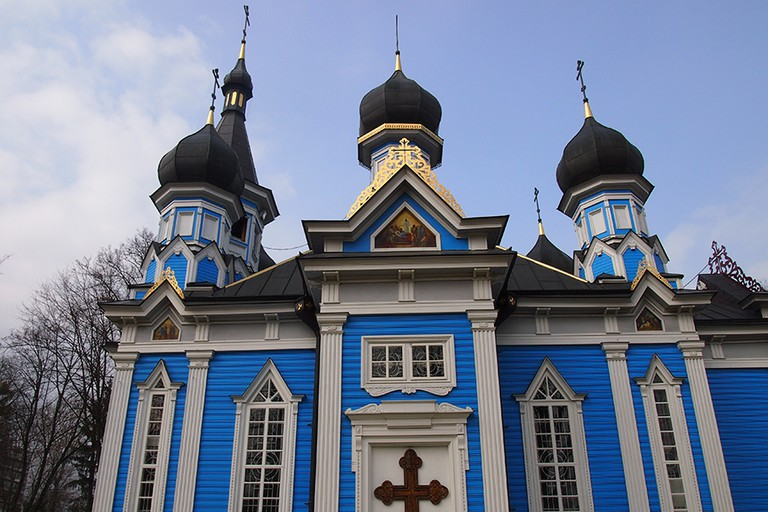 Bright blue Russian Orthodox church in Druskininkai