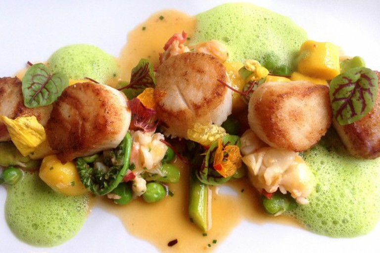 Seared scallops poached lobster