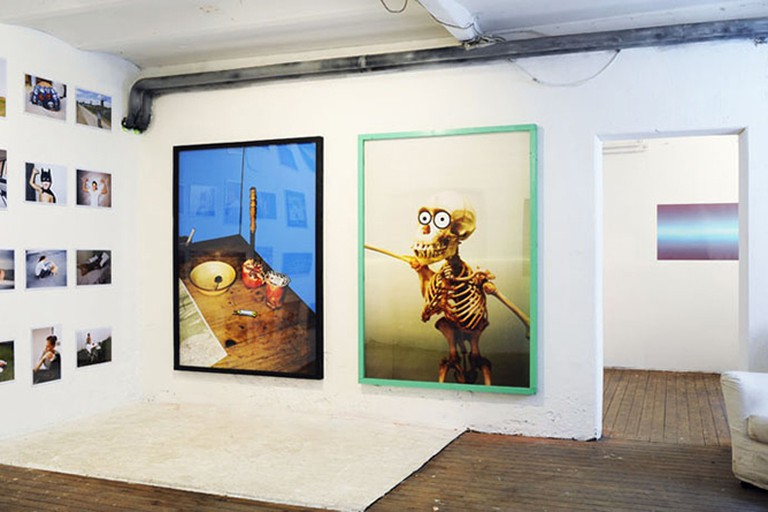 Installation view of Bookies exhibition with artwork by Linus Bill, Myymala2, 2012A