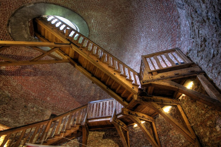Stairs penetrating the roof of the tower