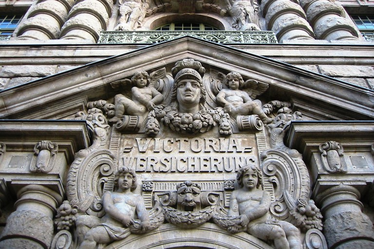 The entrance of the building of the former Victoria insurance company in Kreuzberg