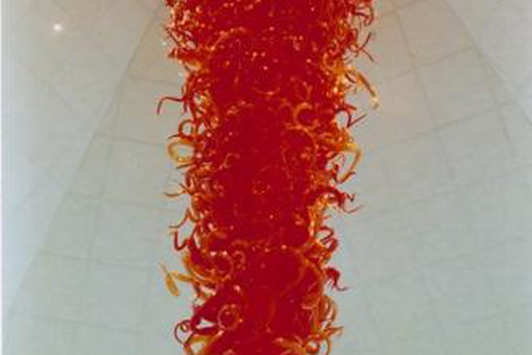 Dale Chihuly, Gonzaga University Red Chandelier, 1995, Glass, 216 x 72 inches, Jundt Art Museum, Gonzaga University; Gift of Jim and Joann Jundt & Duff and Dorothy Kennedy