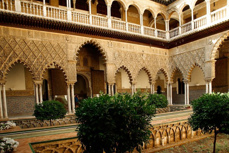 The internal courtyard of Seville's Alcazar palace
