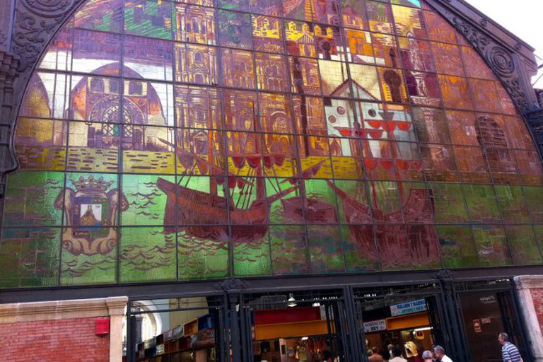 The stained glass window at Atarazanas market