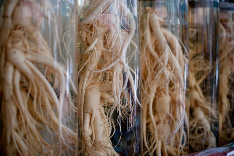 Ginseng for sale at a traditional Korean market