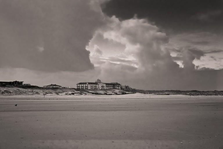Beach of Juist and evening light - Kurhaus