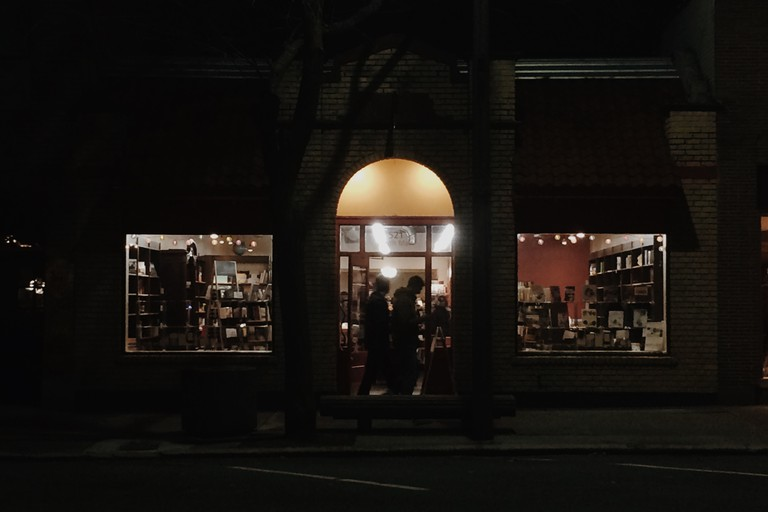 Bookstore at night
