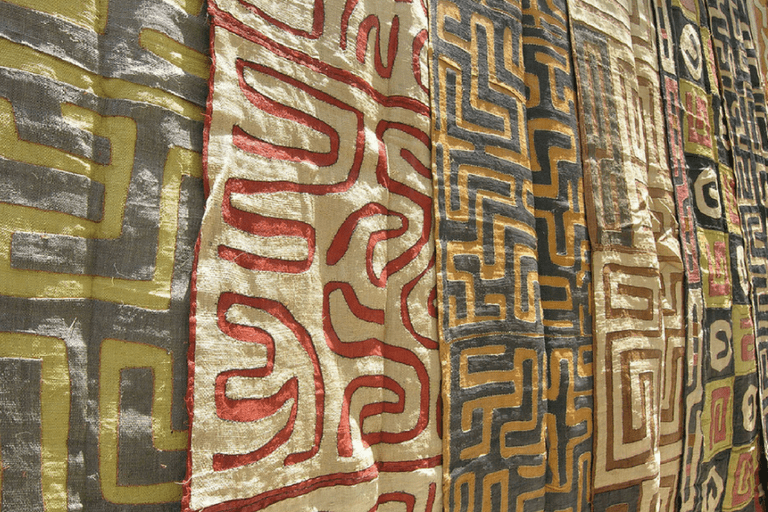 Authentic Kuba cloth sold at the Rosebank market