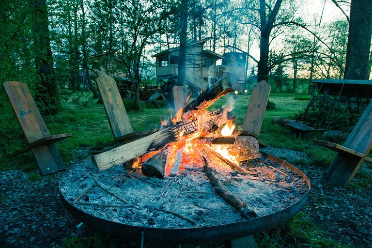 Fire pit at campsite