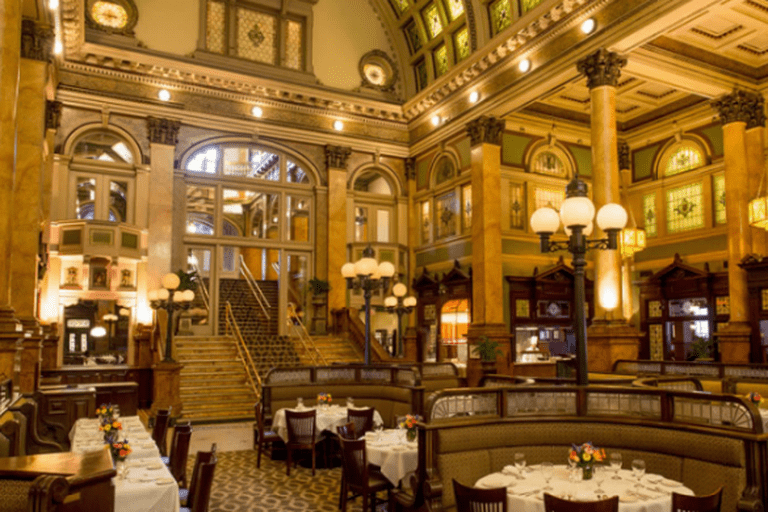 The restaurant's stately interior