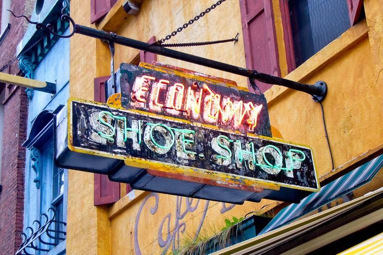 The Economy Shoe Shop Cafe sign