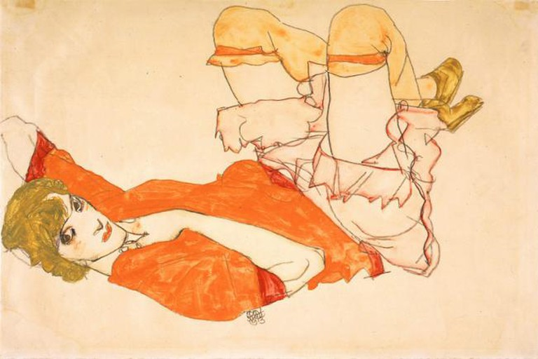 Egon Schiele, Wally in Red Blouse with Raised Knees, 1913, watercolor, gouache, and pencil, Private Collection