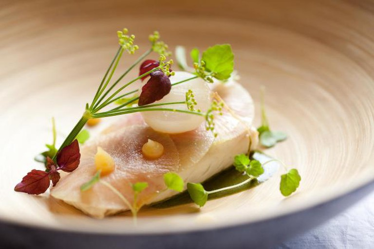 Turbot with turnip and wild herbs at Westminster Hotel
