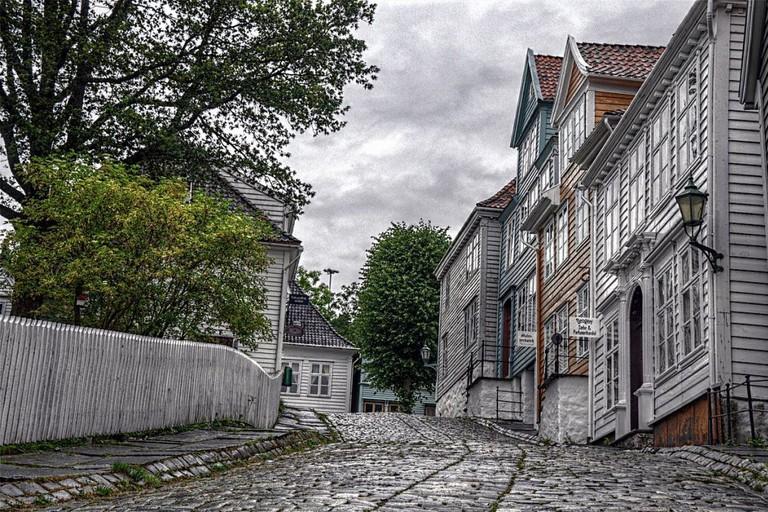 Street photo from Gamle Bergen Museum, Bergen, Hordaland, Norway