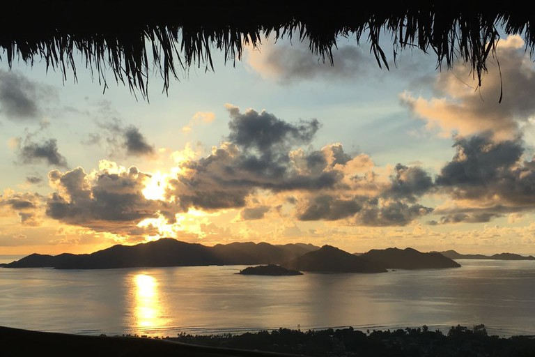 Watching the sun set over Praslin Island at Eagles Nest