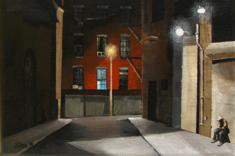 """Shea Brook, Man in Alley, acrylic on canvas, 5"""" x 7"""""""