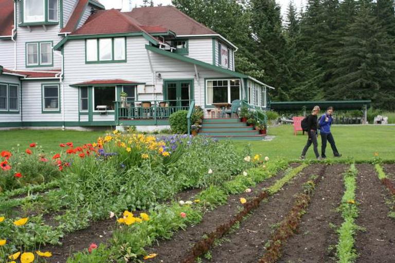 The restaurant and gardens at Gustavus Inn