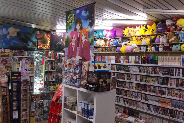 The bookstore also stocks lots of manga merchandise