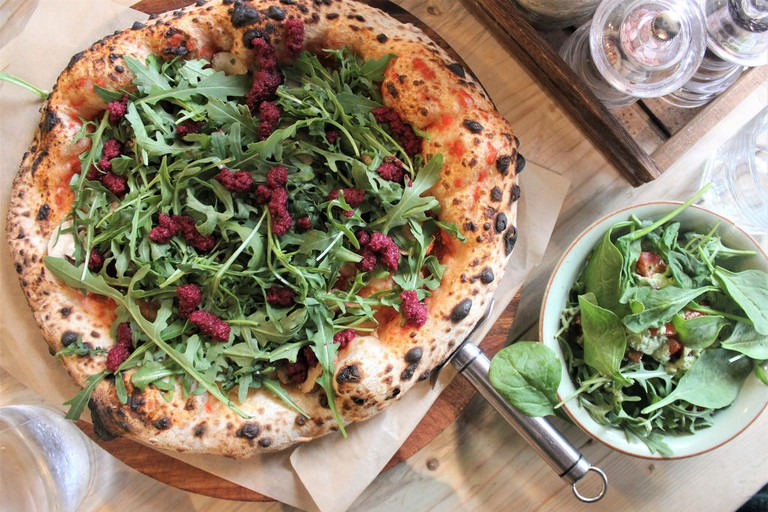 Delicious vegan beetroot pizza