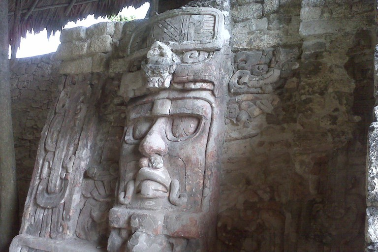 Carved stone masks in Kohunlich