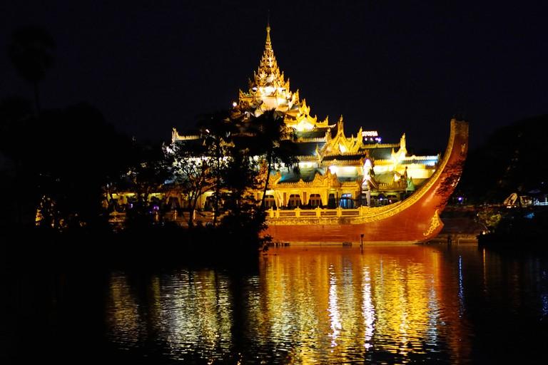 Yangon's floating Karaweik Palace at night