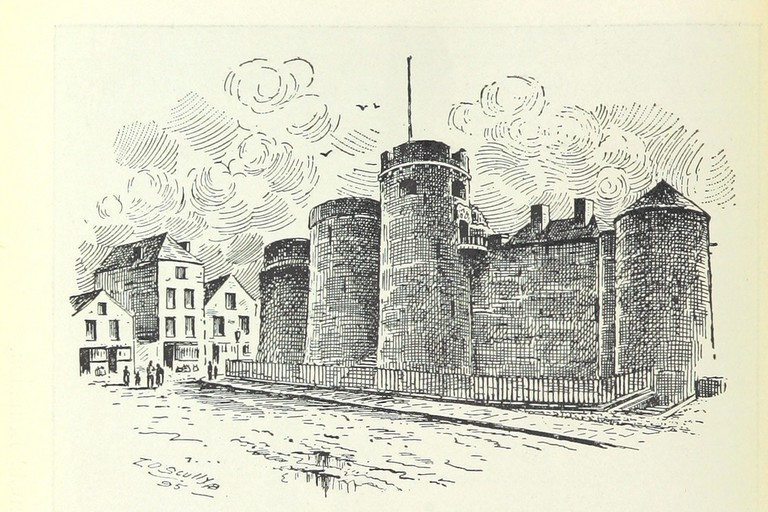 A historic drawing of King John's Castle, Limerick, taken from an Irish history text